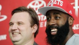 Rockets general manager Daryl Morey and James Harden