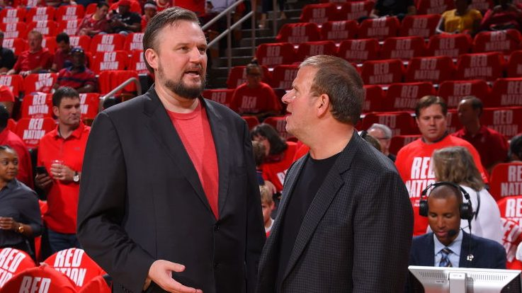 Rockets general manager Daryl Morey and owner Tilman Fertitta