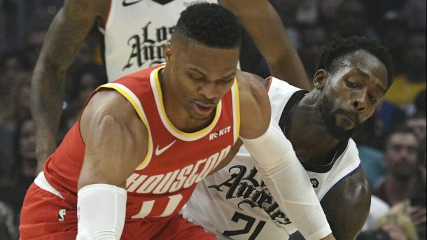 Rockets guard Russell Westbrook and Clippers guard Patrick Beverley