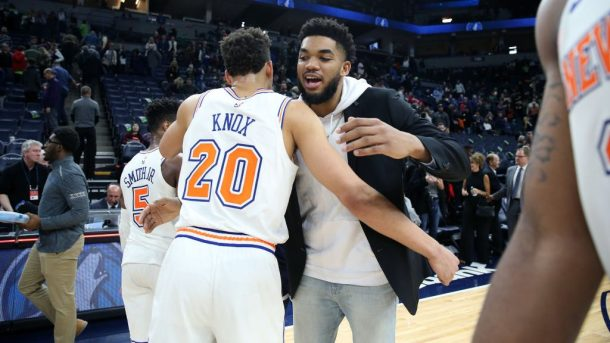 Knicks forward Kevin Knox and Timberwolves star Karl-Anthony Towns