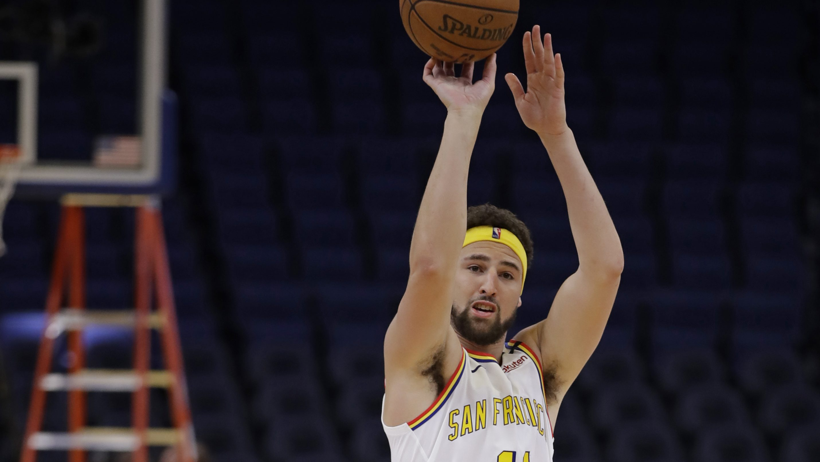Here's video of Klay Thompson getting up shots in an empty Chase Center
