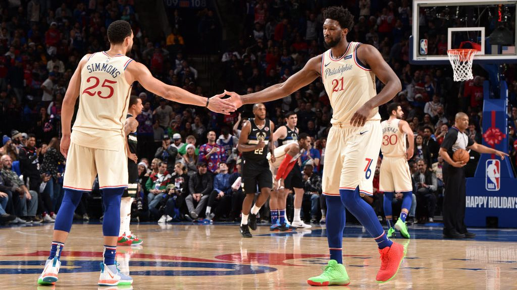 76ers players Joel Embiid and Ben Simmons