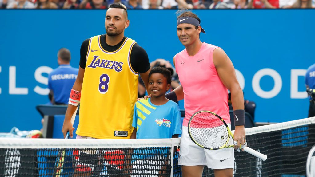 Nick Kyrgios in Kobe Bryant jersey and Rafael Nadal