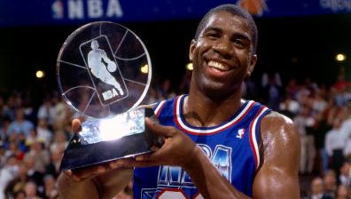 Magic Johnson at 1992 NBA All-Star game, selected by David Stern