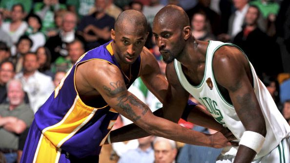 Celtics great Kevin Garnett and Lakers legend Kobe Bryant