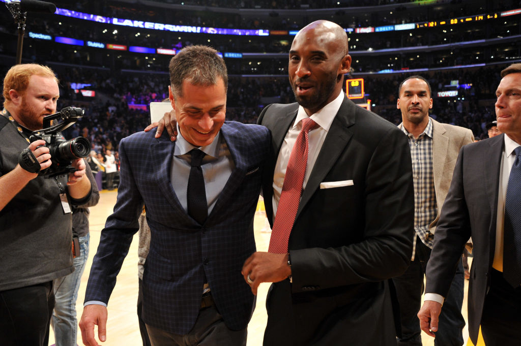 Lakers executive Rob Pelinka and Kobe Bryant