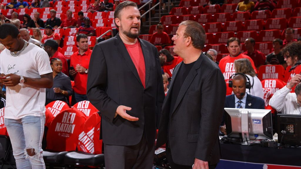 Rockets owner Tilman Fertitta and Daryl Morey, now 76ers president