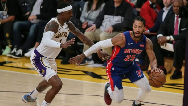 Pistons guard Derrick Rose vs. Lakers