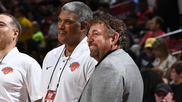 Knicks president Steve Mills, owner James Dolan and general manager Scott Perry