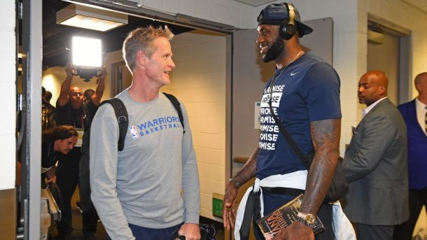 Steve Kerr and LeBron James before NBA game