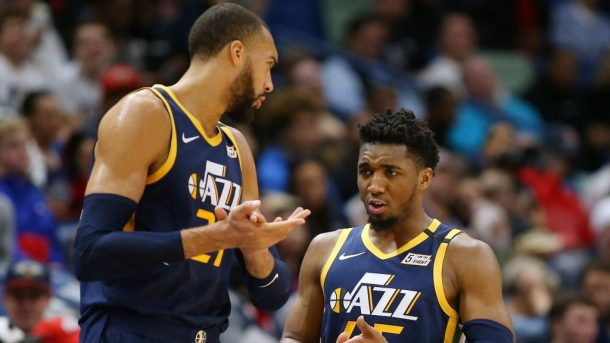 Jazz teammates Donovan Mitchell and Rudy Gobert