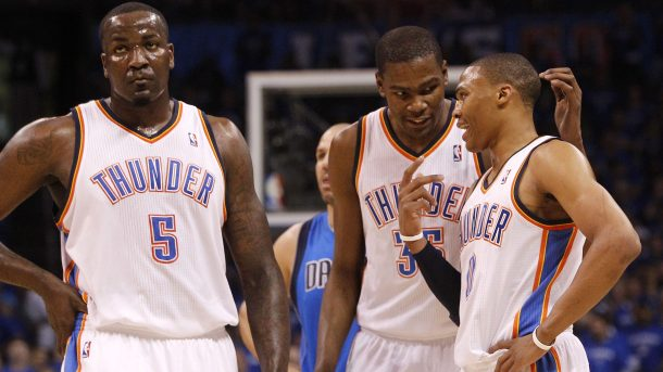 Kendrick Perkins, Kevin Durant, Russell Westbrook with Thunder