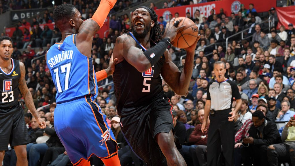 Clippers Montrezl Harrell and Lou Williams and Thunder guard Dennis Schroder