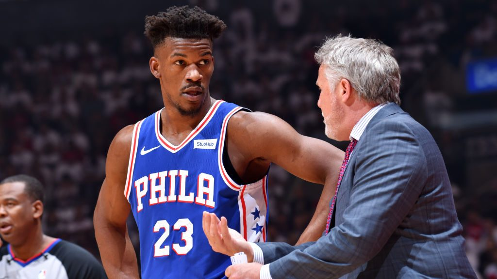 Jimmy Butler and 76ers coach Brett Brown