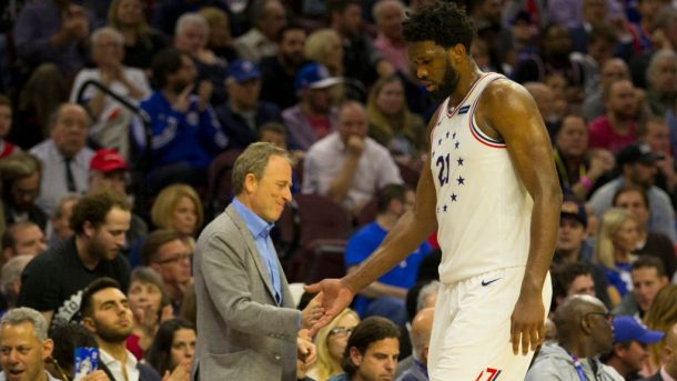 76ers owner Josh Harris and Joel Embiid