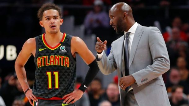 Trae Young and Hawks coach Lloyd Pierce