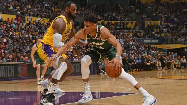 Bucks star Giannis Antetokounmpo and Lakers star LeBron James