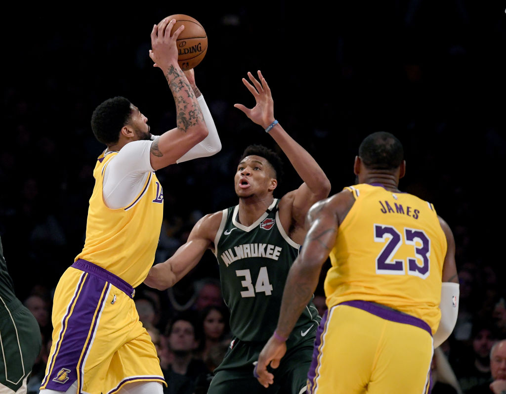Lakers stars LeBron James and Anthony Davis and Bucks star Giannis Antetokounmpo
