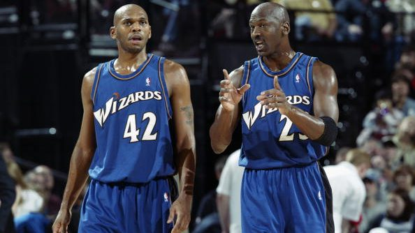 Wizards Jerry Stackhouse and Michael Jordan