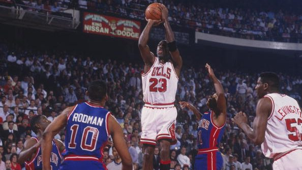 Bulls star Michael Jordan and Pistons forward Dennis Rodman