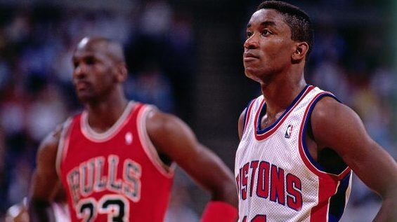 Pistons guard Isiah Thomas and Bulls guard Michael Jordan