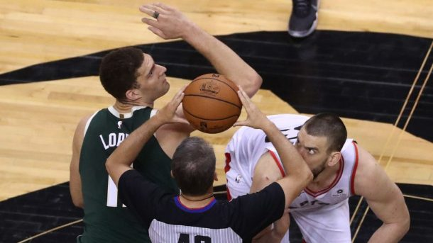 Bucks center Brook Lopez and Raptors center Marc Gasol