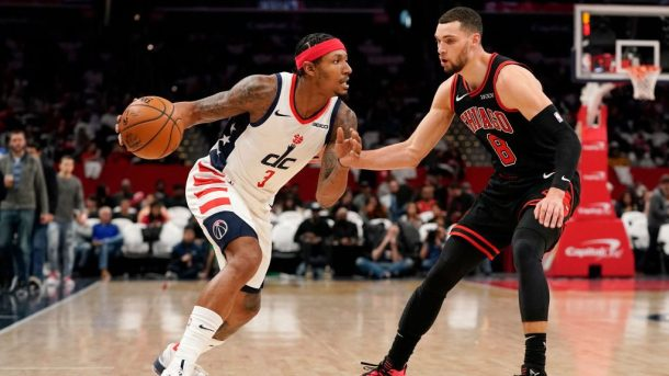 Wizards guard Bradley Beal and Bulls guard Zach LaVine