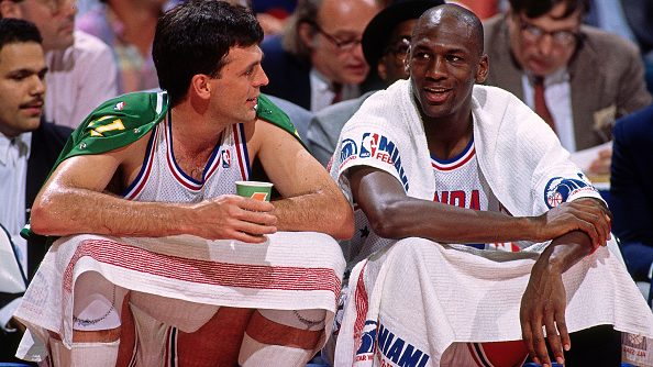 Celtics forward Kevin McHale and Bulls guard Michael Jordan