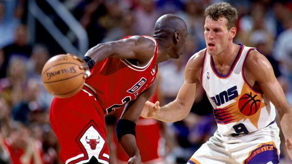Bulls star Michael Jordan and Suns guard Dan Majerle