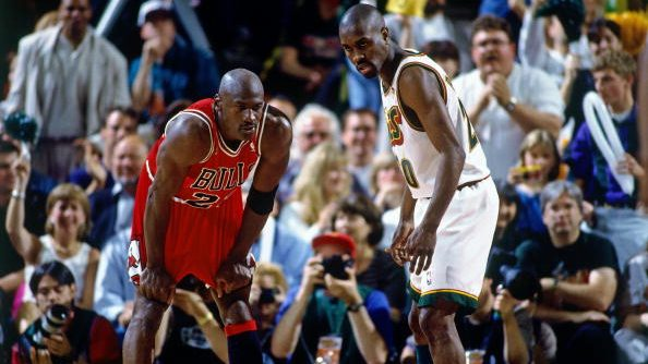 Chicago Bulls guard Michael Jordan and Seattle SuperSonics guard Gary Payton