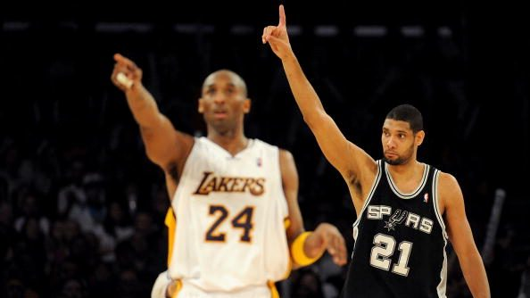 Lakers guard Kobe Bryant and Spurs forward Tim Duncan