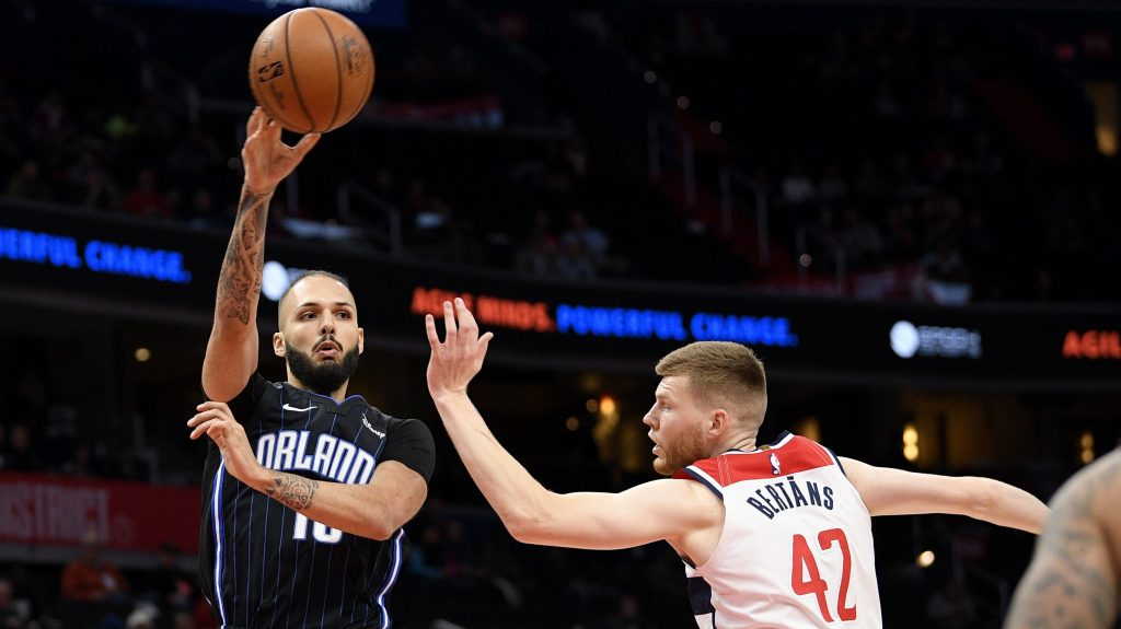 Magic wing Evan Fournier and Wizards forward Davis Bertans