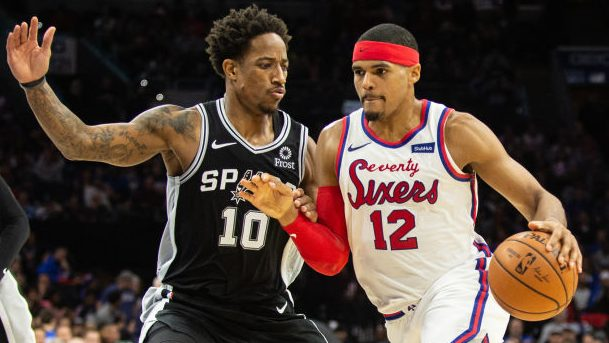 Spurs wing DeMar DeRozan and 76ers forward Tobias Harris