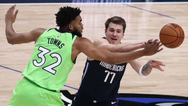 Timberwolves star Karl-Anthony Towns and Mavericks star Luka Doncic