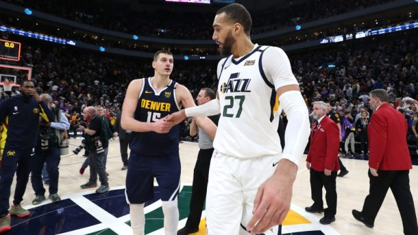 Nuggets center Nikola Jokic and Jazz center Rudy Gobert