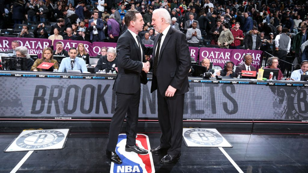 Former Nets coach Kenny Atkinson and Spurs coach Gregg Popovich