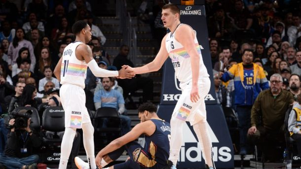 Nuggets guard Monte Morris and center Nikola Jokic