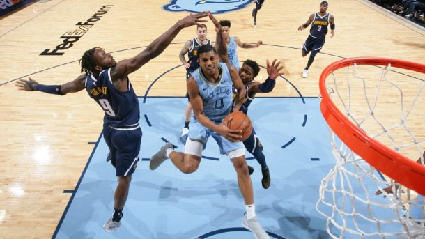 Grizzlies guard De'Anthony Melton and Nuggets forward Jerami Grant