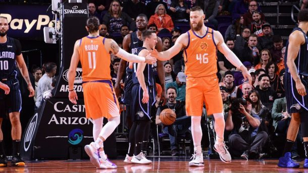 Suns guard Ricky Rubio and center Aron Baynes