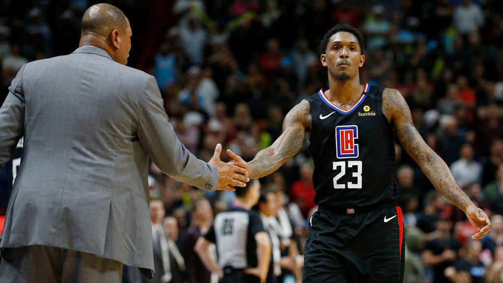 Clippers coach Doc Rivers and Lou Williams