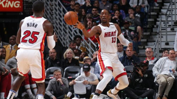 Heat players Bam Adebayo and Kendrick Nunn