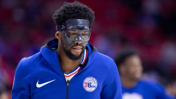 76ers star Joel Embiid wearing mask