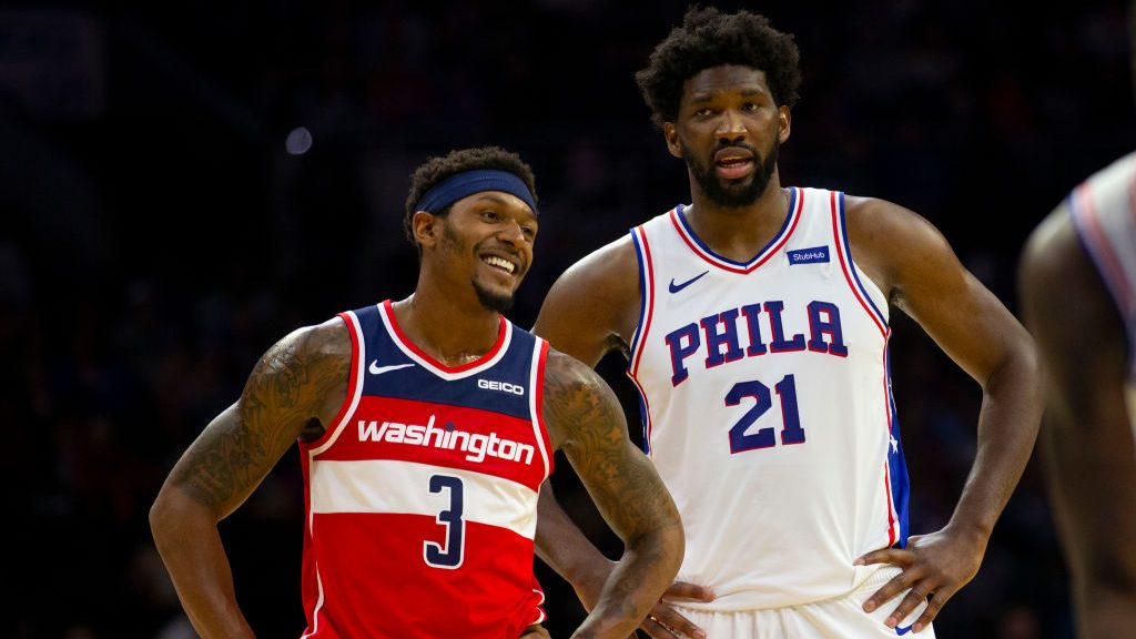 Wizards guard Bradley Beal and 76ers center Joel Embiid