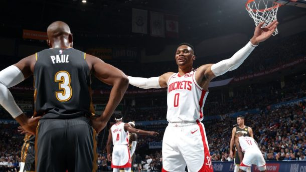 Rockets star Russell Westbrook and Thunder star Chris Paul
