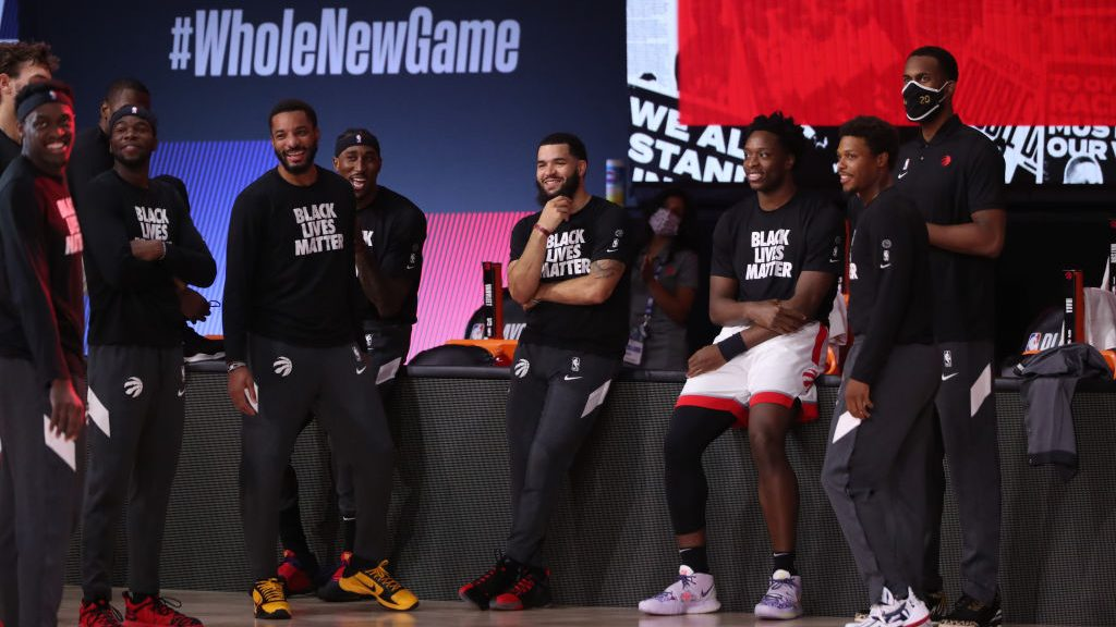 Toronto Raptors during family intros