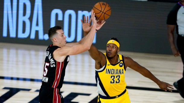 Heat guard Duncan Robinson and Pacers center Myles Turner