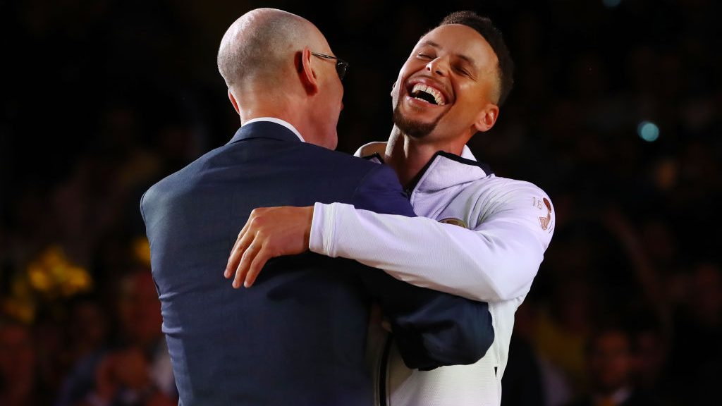 NBA commission Adam Silver and Warriors star Stephen Curry