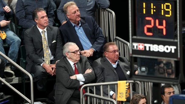 Pacers owner Herb Simon and executives Donnie Walsh, Larry Bird, and Kevin Pritchard