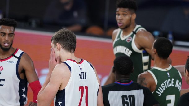 Bucks star Giannis Antetokounmpo and Wizards forward Moritz Wagner