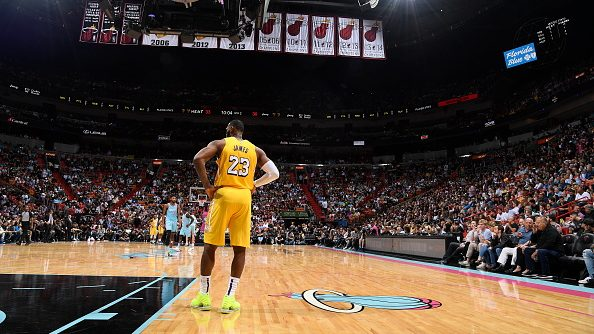 Lakers star LeBron James vs. Heat